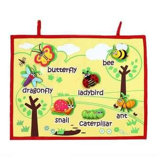 FELT HANDMADE GARDEN INSECTS WALL CHART / HANGING