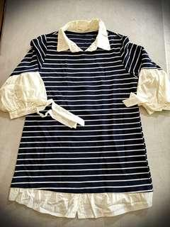 Stripe Blouse with accent sleeves