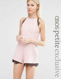 ASOS petite Cami Crepe Playsuit with lace insert
