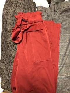 M Boutique Silk Red Dress/Style Pants
