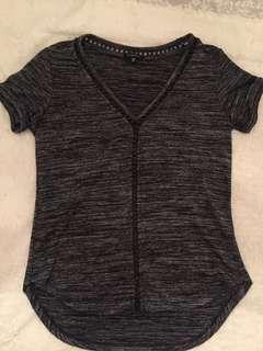 Grey Dynamite Tshirt with leather trim