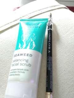 Paket!! Wardah balancing facial scrub & Eyebrow pencil black