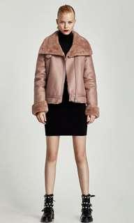 Zara - Short Fur-Lined Biker Jacket