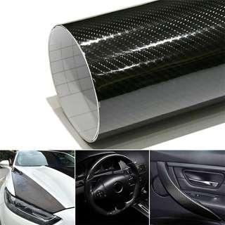 Car Styling 152cm*30cm Glossy Black 5D Carbon Fiber Vinyl film Car Wrap With Air Free Bubble DIY Car Tuning Part Sticker