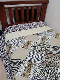 Single Bed + Mattress + Patchwork bedsheet