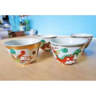 Antique vintage hand painted porcelain dragon phoenix pearl cups incense worship tea chinese wine bowls