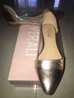 Near new VERALI rose gold flats size 7 rrp $69.95