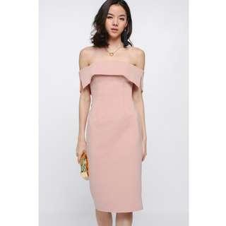 Lovebonito Swayze Off Shoulder Midi Dress in Blush Size S