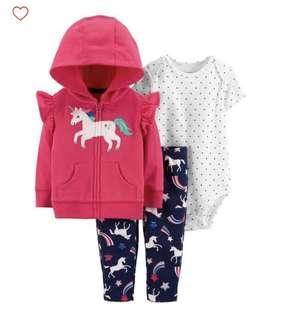 🚚 BN Carters Baby Girl 3 Piece Unicorn Hoodie Jacket Romper Set 18mths!