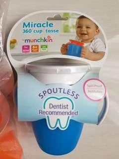 Munchkin miracle sippy cup (blue, pink, orange)