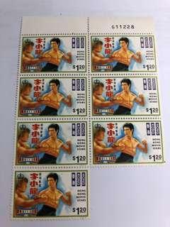 6張李小龍郵票
