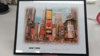 new york times square掛畫,購自new york ruby merson originals,有簽名,2000年,全新,包郵