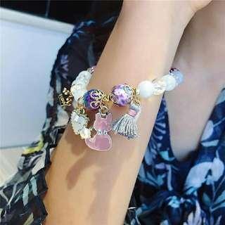 #貓咪多元素串珠水晶手鍊