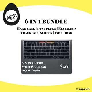 🚚 MACBOOK PRO WITH TOUCHBAR hard case screen protector A1706 A1989