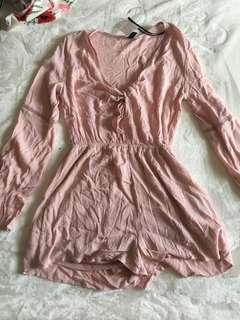 H&M pink tie front  playsuit