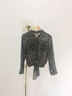 Black polka chiffon blouse