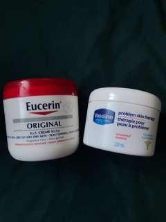 Eucerin and Vaseline Moisturizer