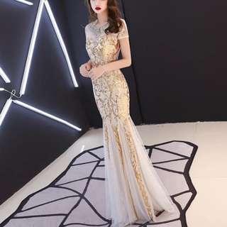 Gold mermaid elegant Dress / evening gown