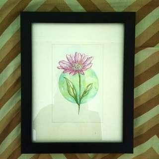 Aster Watercolor Painting (Framed)