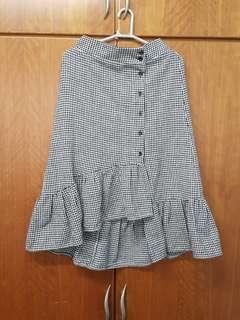 Houndstooth Pattern Mermaid Midi Skirt