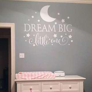 Inspirational wall decal / wall stickers / home deco - Dream Big little one