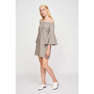 🚚 (L) Klarra Off Shoulder Bell Sleeve Dress in Taupe