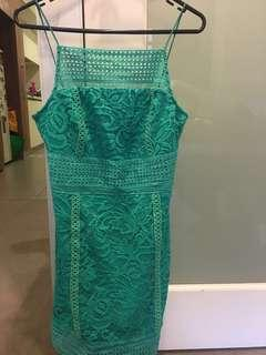 Topshop petite green lace dress size 12