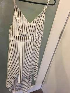 Dotti hi- Lo black and white pinstripe dress