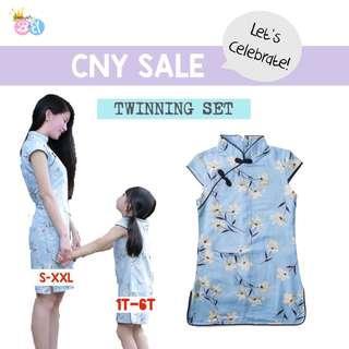 Cheongsam twinning Mum+Girl