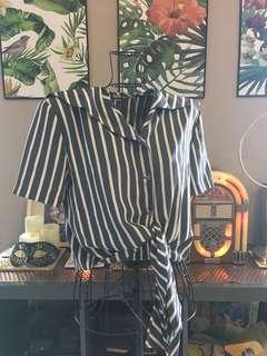Grey Striped tie top