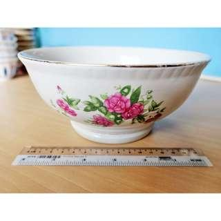 Vintage Porcelain Large Chinese Flower Serving Bowls