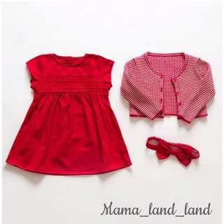 <Chinese new year 🎉🎁> Festival dressing ~ traditional baby red dress + knit stripe cardigan + ribbon headband