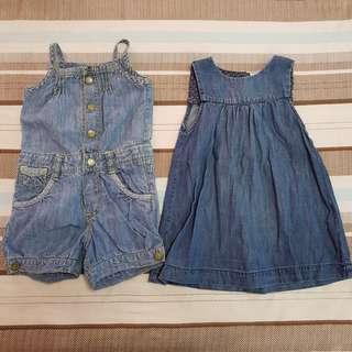 Zara and H&M Denim Bundle (dress and romper shorts)