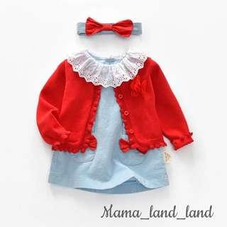 <Chinese new year 🎉🎁> Festival dressing ~ traditional baby red ribbon blue Eyelet dress + red knit cardigan + ribbon headband