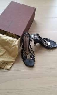 Louis Vuitton LV 真蛇皮 涼鞋 黑色35號