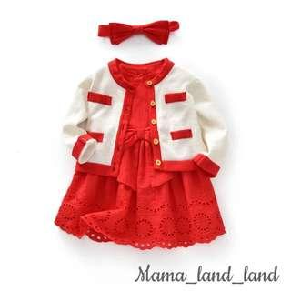 <Chinese new year 🎉🎁> Festival dressing ~ traditional baby cotton red eyelets dress  + white cardigan   + ribbon headband