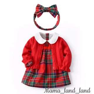 <Chinese new year 🎉🎁> Festival dressing ~ traditional baby cotton check dress + red knit  cardigan   + ribbon headband