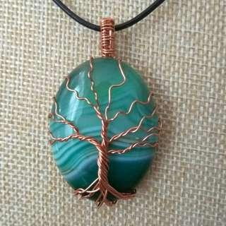 🚚 Tree of Life Agate Copper Wire Wrapped Gemstones Pendant Necklace, Unisex Pendant, Gift for Couples