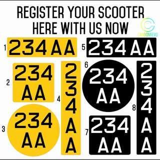E-Scooter LTA Compliant Identification Mark Sticker/Decal