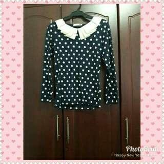 korean colar top in navy blue