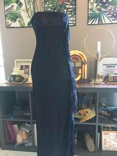 Full length dark blue dress