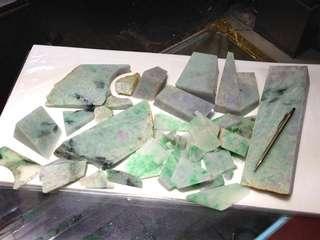 100%天然A貨翡翠 紫青原石件 多於10kg
