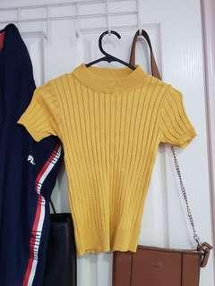 Yellow Ribbed turtle neck