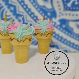 Custom Unicorn Cone Cakes