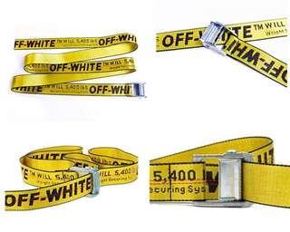 INSTOCKS Off-White Silver Industrial Belt