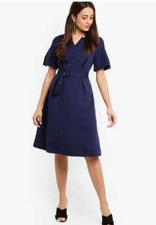 Zalora Flare Sleeve Fit and Flare Dress (Blue)