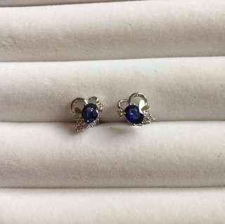 18K藍寶鑽石耳環