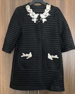 Black Lace Jacket with Floral Appliqués Size Small