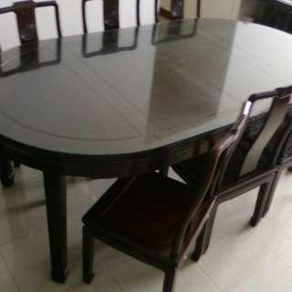 Glass-top Adjustable Dining Table with Chairs