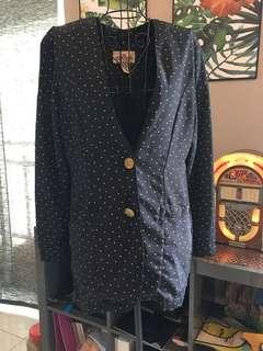 Polkadot dark blue blazer jacket
